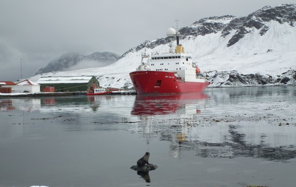 The JCR alongside at King Edward Point, South Georgia